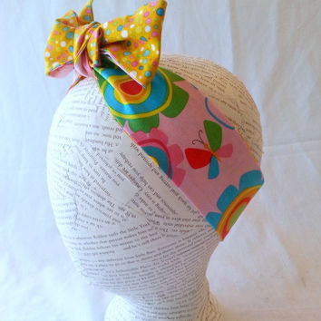 Reversible Head Wrap - Reversible Fabric Headwrap - Size Infant to Adult - Knot Tie Headband - Big Bow Wrap - Pinks Oranges Blues Polka Dots
