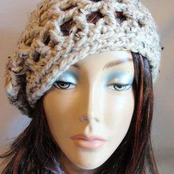 Oatmeal Crochet Chunky Slouchy Snood Hat Lamb's Wool Acrylic Blend Gift for Her Fashion for Women and Teen