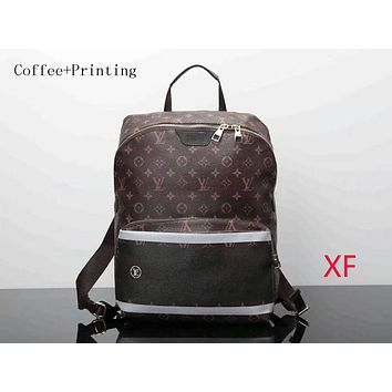 LV trendy men and women backpack backpack F-LLBPFSH Coffee + printing