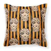 Watecolor Halloween Day of the Dead Head Fabric Decorative Pillow BB7527PW1414