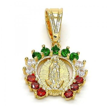 Gold Layered Religious Pendant, Guadalupe Design, with Cubic Zirconia, Gold Tone