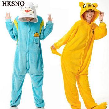 HKSNG Adventure Time Finn Pajamas Adult Warm Animal Jack Dog Kigurumi Onesuit Flannel Party Costume Homewear Set With Zipper