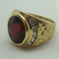 Vintage 1950s 10K Yellow Gold Garnet and Simulated Diamond Mens Ring