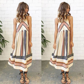 Women's Vintage BOHO Multi Natural Stripes Midi Maxi Sleeveless Dress