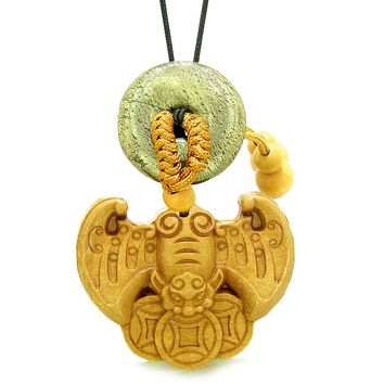 Flying Bat Lucky Coins Car Charm Home DecGolden Pyrite Iron Magic Donut Protection Powers Amulet