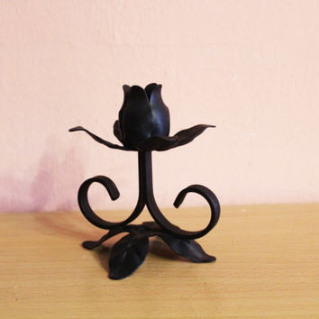 Vintage Black Metal Rose Candle Holder, Cast Iron Candlestick Holder, Wrought Iron Home Decor