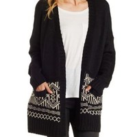 Oversized Border Print Cardigan Sweater