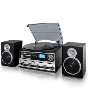 Trexonic Shelf Stereo System With Turntable, Cassette Player & CD / USB / SD Recording