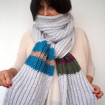 Rib Chunky  Scarf Hand Knit Extralong Scarf  Soft  mixed Woman/Men Scarf NEW