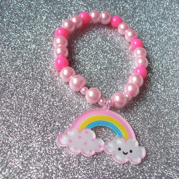 Sweet Skies - Happy Rainbow on Pink Stretch Bracelet