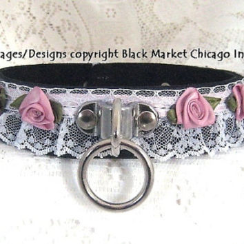 Sissy Maid Bondage Collar Leather Lace BLACK with PINK Roses Lockable