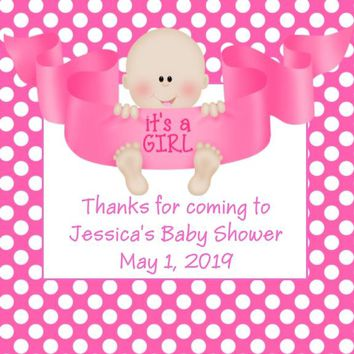 Its A Girl Baby Shower Favor Tags Light Skin