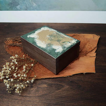 Small wooden box earth colors metalic shimmering green gold creme brown trinket keepsake gift for her hand painted treasury jewelry box