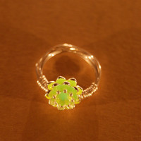 Glow in the Dark Jewelry - Green Glowing - Ring - Gifts for Her - Birthday Gift - Lotus