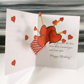Pop up Birthday Greeting Card - Happy Birthday Exploding Hearts