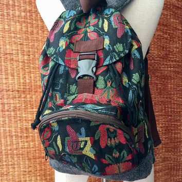Boho Tribal Aztec Backpack Hippie Festival Men Women Style Canvas Woven school Tapestry backpack Native Ikat folk Southwestern Gift for him
