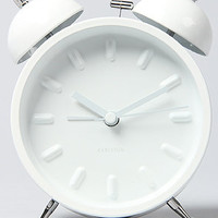Present Time Clock Twin Bell Alarm Batteries White