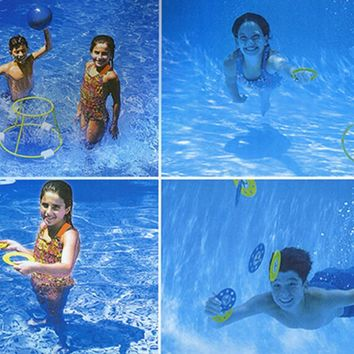 4-In-1 Fun Pack Swimming Pool Games - Basketball  Ring Toss  Dive Rings and UFOS