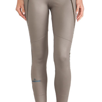 adidas by Stella McCartney Perforated Running Tights in Olive