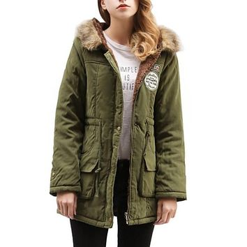 Womens Hooded Parka Coat in Army Green in Large