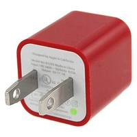 Gino A Type USB to US Plug Power Adapter for Apple iPhone 3G/3GS - Red