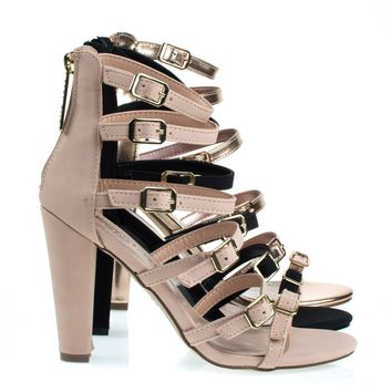 Devon22 Blush By Breckelle's, Gladiator Strap, Chunky Block High Heel Sandal, Women's Party Shoes