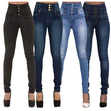228-2 Women Autumn Fashion Brief High Waist Skinny Light Washed Single-Breasted Bleached Cotton Long Jeans 4 Colors GZTF