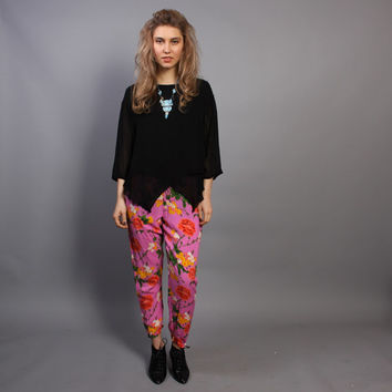 80s Bright Pink HAREM PANTS / Tropical Floral Print Slouchy Fit, xs-s
