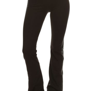Solid Knit Flared Pants with Paneled Rhinestone Emblellishment and Fold Over Waistband