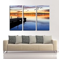 LARGE WALL Art Canvas Print Wooden Pier and Birds at Sunset