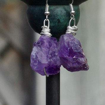 Raw Amethyst Earrings ~ Statement Earrings ~ Semi Precious Stone ~ Purple Jewelry ~ Boho Style  ~ One of a Kind ~ February Birthstone ~ OOAK