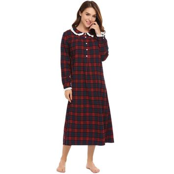 Vintage Plaid Nightgown Womens Long Sleeve Casual Loose Lace Sleepwear Dress Autumn Palace Style Button Nightwear