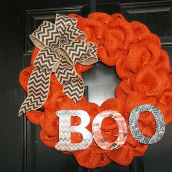 "18 ""  Orange Burlap Halloween Wreath Boo, door wreath, door, decoration"