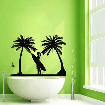 Wall Decals Bathroom Decor Surfer Vinyl Sticker Surfing Decal Palms Art Kj423