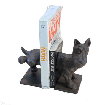 Scottish Terrier Dog Bookends Cast Iron Naughty Pee On It Puppy Library Doorstop