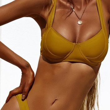 Don't Care Yellow Sleeveless Push Up Bra Top High Cut Brazilian Bottom Two Piece Bikini Swimsuit