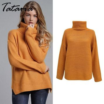 Women's Jumper Turtleneck Sweater  Pullover Jumper Warm Christmas Coarse Sweater thick Winter Cable Knitted Oversized Sweater