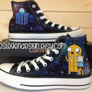 CREYUG7 Adventure Time Doctor Who Custom Converse / Painted Shoes