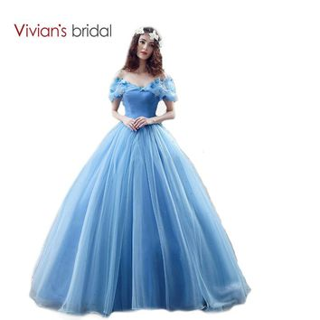 Bridal New Movie Deluxe Adult Cinderella Wedding Dresses Blue  Ball Gown Wedding Dress Bridal Dress