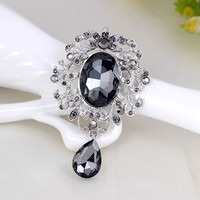 Silver Plated large Rhinestone+glass vintage brooch pins flower