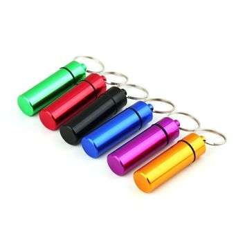 1 pc Mini Portable Waterproof Aluminum Light Purple Pill Box Case Bottle Cache Drug Holder Container With Keychain