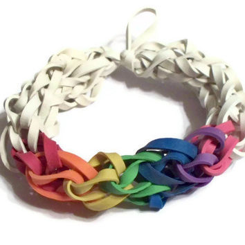 Rainbow Rubber Band Stretch Bracelet - White with Rainbow Color Spectrum - Support the Cause for Lesbian, LGBT, Gay Pride