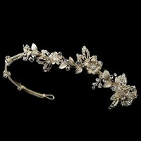 Light Gold Floral Side Accent Wedding Headband - sale!