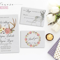 Deer Antlers Wedding Invitation Suite Printable Deer Horns Wedding Invite Set Pink Yellow Flowers Invitation Bridal Floral Invite - WI004