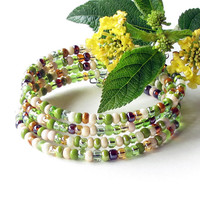 Stacking beaded bracelets - sparkling lime green, ivory and amber - 4 bangles in one