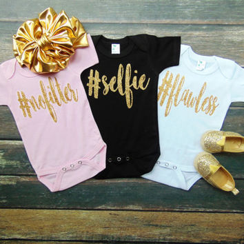 Hashtag Bodysuits - Flawless, No Filter, Selfie - Pink, Black, White - Choose Any Color/Hashtag - Gold Glitter Sparkle -  Ann Marie Avenue