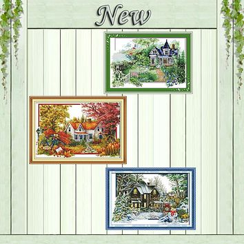 The winter house summer diy painting counted printed on canvas DMC 14CT 11CT chinese Cross Stitch Needlework Set Embroidery kits