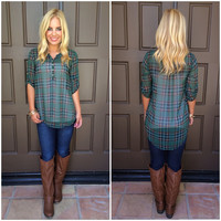 Plaid Intentions Tunic Top - GREEN