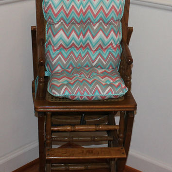 Aqua, Peach & Gray Chevron Reversible Tufted High Chair Cushions, High Chair Pads, High Chair Cover, Highchair Pads