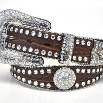 Nocona Ladies Scalloped Croc Print Rhinestone Western Belt